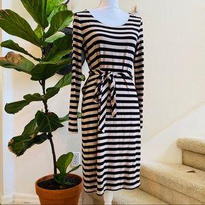 BANANA REPUBLIC JERSEY KNIT LS dress M stripe